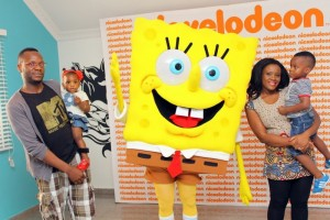 Diddy Awokoya and family with SpongeBob