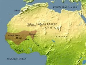 Mapa da África com o Império do Mali em destaque